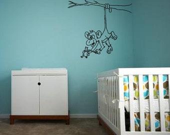 Cheeky Monkey With Banana - Wall Art Sticker