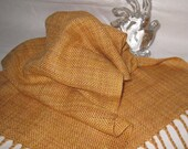 Silk & Merino Wool Scarf - Handwoven Gold Scarf  - Warm Winter Scarf  - Lightweight Gold Scarf - Minimalist Clothing - Soft Sensuous Scarf