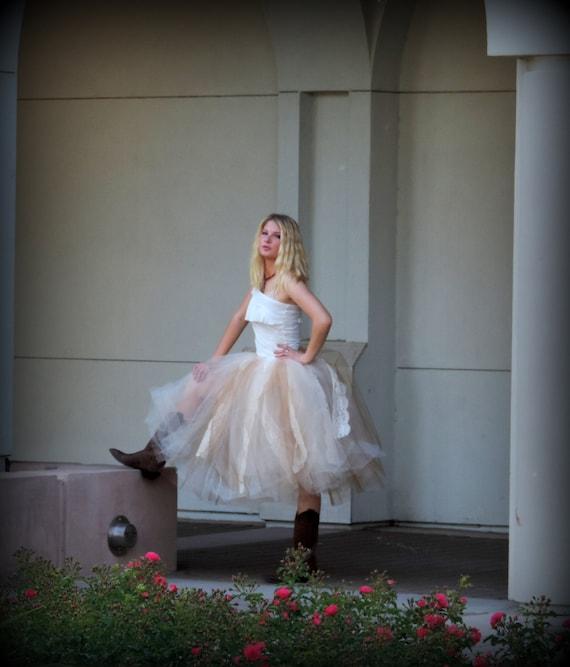 Women tulle skirt adult tea length bridal wedding lace by for Tea length wedding dress tulle skirt