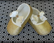 GOLD Baby Girl Crib Shoes, Mary Jane Shoes, Glitter Sandals,  Sparkly Shoes for Baby Girl, Cream Ivory Ballerina Sandles, size 6 9 12 months