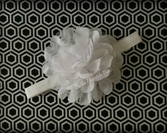 SALE - Large White Chiffon with Lace Headband, Clothing Accessory for Baby and Toddler Girls, Photo Prop Baptism Christening