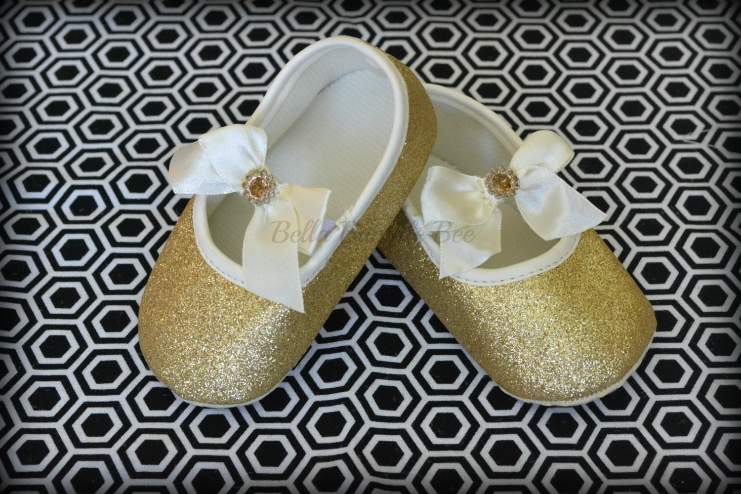 GOLD Baby Girl Crib Shoes Mary Jane Shoes by BellaBumbleBee
