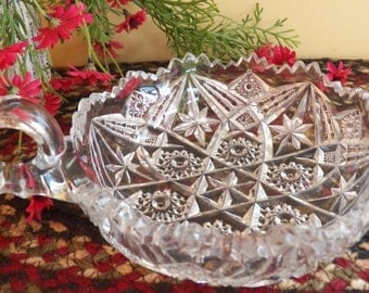 Vintage 1920's Imperial NUCUT Pressed Glass Jagged Edge Nappy Dish Bowl with Handle--Candy Nuts
