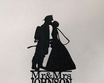 Personalized Wedding Cake Topper - Firefighter and Bride Silhouette with Mr & Mrs name