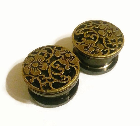 """Bronze Flower Plugs double or single flare sizes 7/16 - 3/4"""""""