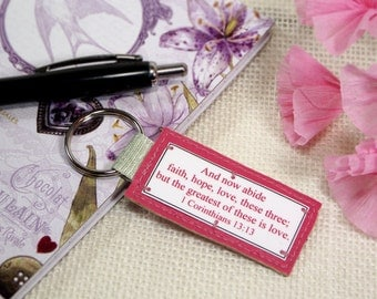 Pink 1 Corinthians 13:13 Scripture Key Chain, Inspirational Keychain, Key Ring, Religious Gifts, Inspirational Gifts, Keychains For Women