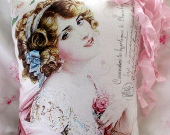 VICTORIAN LADY Pink Roses Pillow, French Script, Pink Roses Pillow, Shabby Pillow
