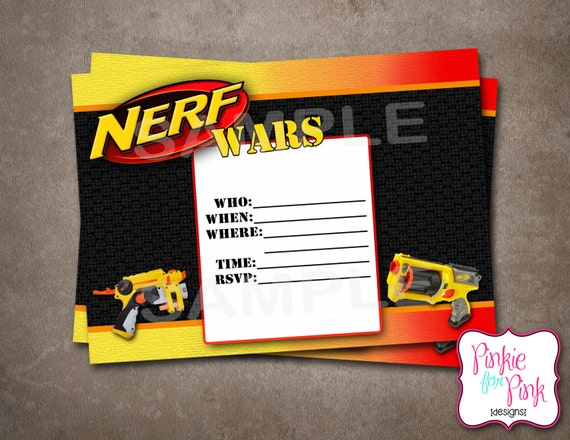 INSTANT Download Nerf Wars Invitation Birthday by ...