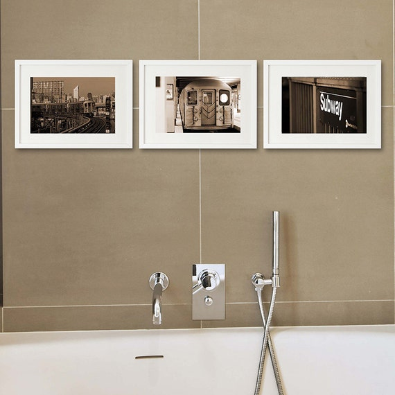 Set of 3 new york photography sepia photography bathroom art for New york city bathroom decor