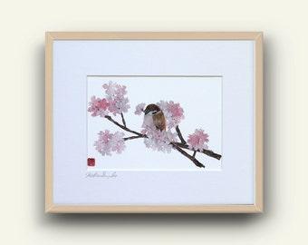 Cherry Blossom, Sparrow, Bird Cherry Tree, Whimsical Bird Art, Japanese Art, Pink Sakura