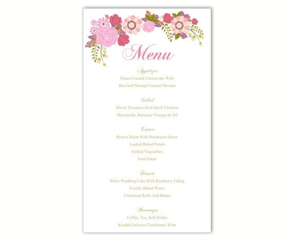 wedding menu template diy menu card by thedesignsenchanted on etsy