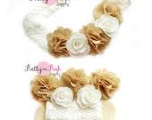 Burlap and Lace Flower Crown DIY Headband Kit #96-Baby Headband,Baby Shower,Shabby Flowers-Headband Kit-Girls Flower Crown