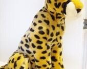Vintage Cheetah plush toy - vintage stuffed cheetah - stuffed toy cheetah - vintage South African toy - stuffed South African cheetah
