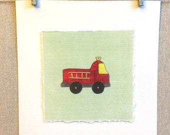 Fire Engine Artwork, Fire Engine Print, Hugs and Kisses XO Artwork