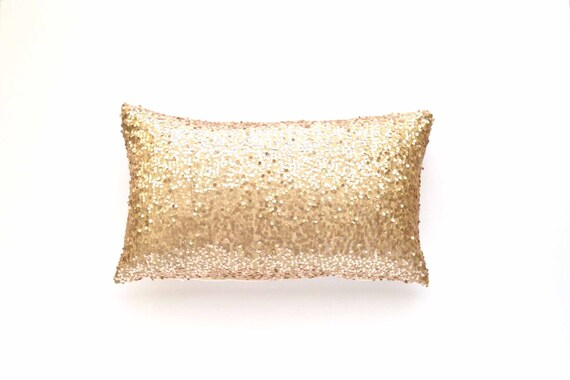 Sequin Lumbar Pillow Cover Champagne Sequin 12 X