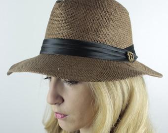 Espresso Straw Fedora Wide-Brim Hat with Satin Ribbon and Vintage Brass Button