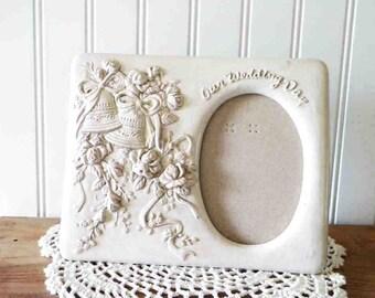 "Wedding Bells Ceramic Photo Frame ""Our Wedding Day"" ... Beautiful Bride, Wedding or Shower Gift Idea"