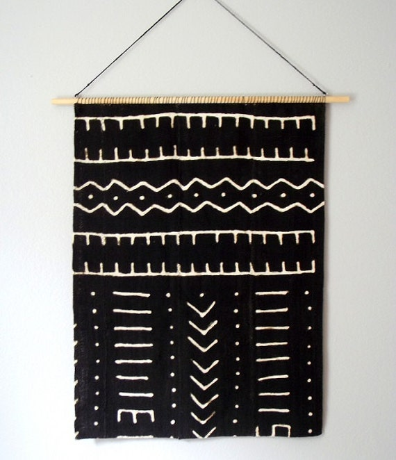 Mud cloth wall hanging geometric woven tapestry by - Cloth wall hanging designs ...