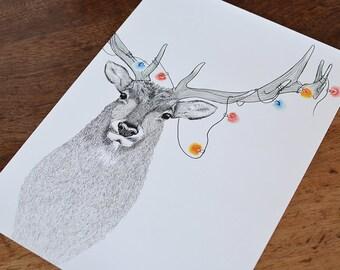 A3 Elk Illustration wall print