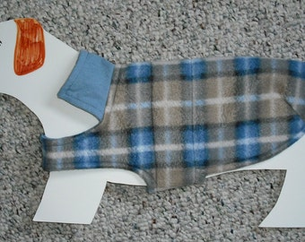 "Reversible Fleece Dog Coat for Mini Dachshund, Doxie, Chiweenie (xs, x-long 7-11 lbs., 16"" girth) , Favorite Blue Denim & Plaid Workshirt"