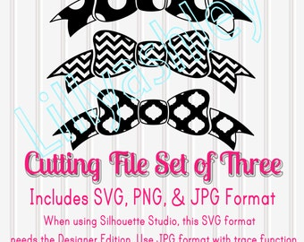 SVG Files Set of 3 SVG, PNG and jpg formats included Commercial Use cut files Polka Dot Bow Chevron Bow Cut File Quatrefoil chevron svg