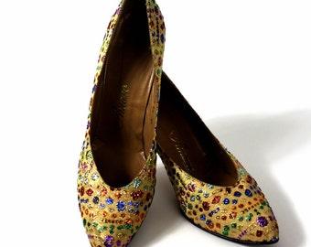 Vintage 1960s Shoes Heels Mult Color Threads Pumps Stilluetos Gold Shoes Wedding Shoes Party Shoes