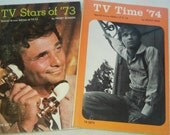 "Vintage Pop Culture Paperbacks, ""TV Stars of '73"" by Peggy Hudson and ""TV Time '74"" by Peggy Herz."