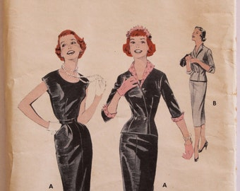 Vintage Sewing Pattern 1950s Women's Wiggle Sheath Dress and Jacket  Size 16 Butterick 7383 Bust 34