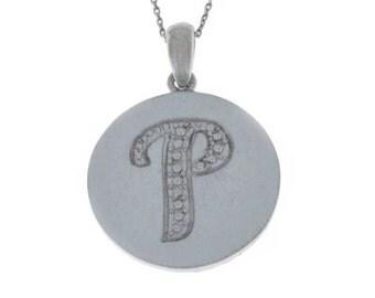 Letter P Pendant .925 Sterling Silver Rhodium Finish