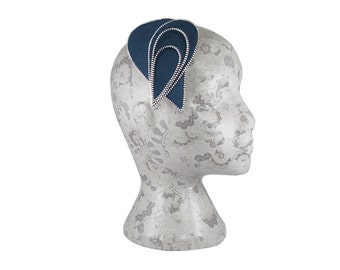 Navy blue and Silver Zip and Felt Fascinator