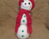 Snowman with Crocheted Hat and Scarf