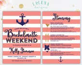 Bachelorette Invitation with Itinerary, Bachelorette Party Invitation, Bachelorette Weekend Invitation, Nautical Bachelorette Invitation