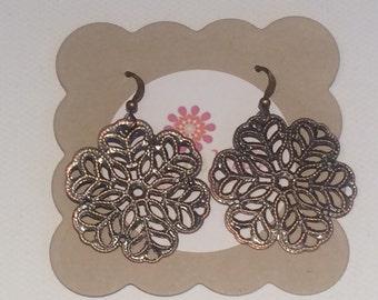 Sale Earrings, COPPER Filigree Earrings, gifts for her, gifts under 10, Sale jewelry, Nickel Free, Hypoallergeni, filigree earrings