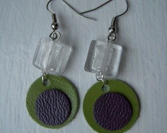 Green-purple leather earrings