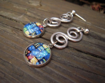 Charming earrings cabochon 14mm