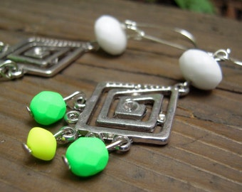 Neon green-yellow earrings (czech beads)