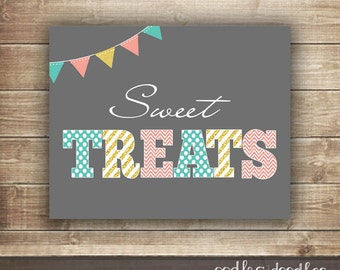 Candy Buffet, Girl's Birthday Sweet Treats Sign, Pink, Turquoise, Glittery Gold, Printable Candy Table Sign, Candy Party Printables