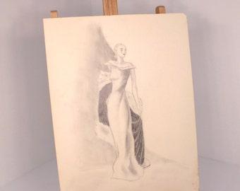 Original Fashion Sketch by Ron Faleide High Fahion Hollywood Regency Glamour Girl
