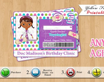 Doc Mcstuffins ID Badge, Doc Mcstuffins Birthday Party Guest Badges - YOU PRINT
