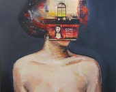 Surreal Portrait, Original Acrylic Modern, Contemporary Painting Stretched Canvas Wall Hanging