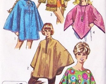 70s Mod Poncho in 2 Lengths BEACH TOWEL JACKET and Cape Pattern Simplicity 8850 Vintage Sewing Pattern Size Small 8-10 Fab Styles