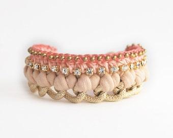 Woven chain bracelet, boho bracelet, chunky chain bracelet with rhinestones, jersey bracelet, statement wide bracelet