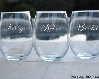 Personalized Bridesmaid Gifts, Stemless Wine Glasses, Wedding Toasting Glasses, Custom Wine Glass, Gift for Bridesmaids, Any Quantity