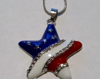 US Seller- Star Flag Necklace red white blue pendant Stars Stripes USA 4th