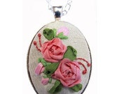 Silk Ribbon Embroidery Pendant Kit, pink rose necklace