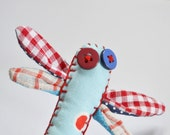 Fiber art brooch, dragonfly brooch, navy textile jewelry, insect brooch, gingham and dot accessories in blue red white