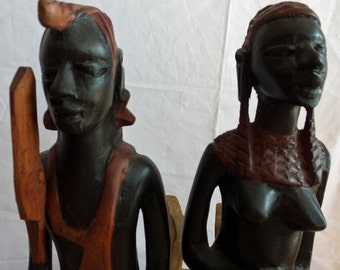 African Tribal Art Carved Ebony Man and Woman Figures