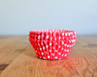Red & White Polka Dot Cupcake Liners- (25)