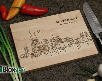 Tennessee gifts etsy nashville tn skyline cutting board personalized engraved cutting board personalized wedding giftswedding negle Choice Image