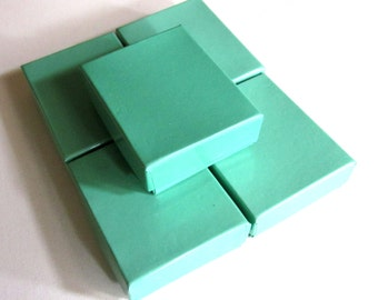 5 Small Jewelry Gift Boxes, Turquoise, With Cotton Filler 1 3/4 x 2 1/4 x 3/4